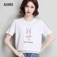 XJXKS T Shirt Women Clothes 2019 Camisas Mujer Ulzzang Women Shirts Couple Clothes Knitted Cute Rabbit Summer Top