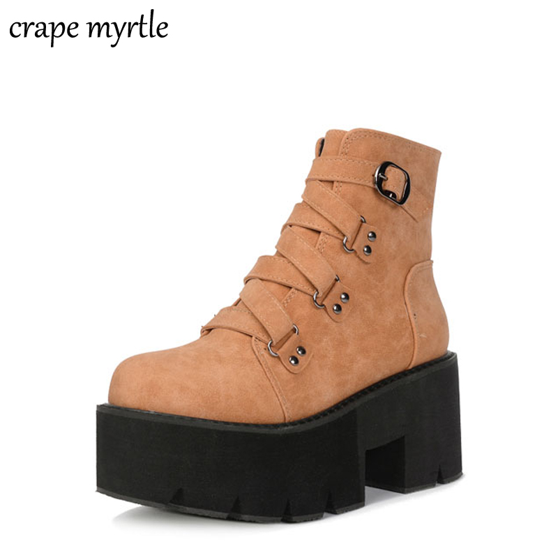 punk boots Buckle bottes femmes platform boots High Heel winter Autumn shoes motorcycle black leather Ankle Boots women YMA442