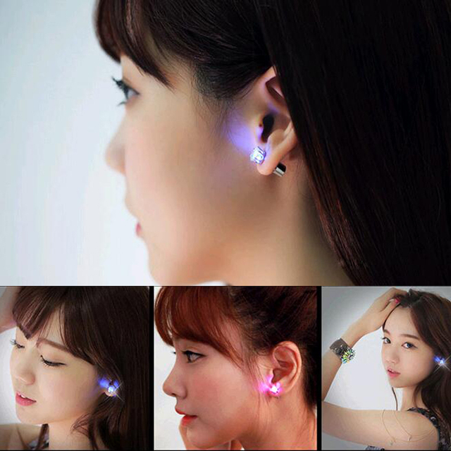 FAMSHIN Hot Sale 1 PCS The Charm of the LEDs Light up to Crown a Glowing Crystal Stainless Ear Drops Ear Earring Jewelry 2018 1