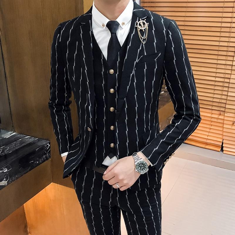 High-grade Striped Suit Men 3 Piece Set, Black Fashion Business Banquet Wedding Mens Suits Jacket And Vests And Pants Slim Fit