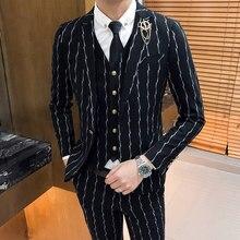 9d1e5af7c3779 Wysokiej jakości paski garnitur mężczyźni 3 częściowy zestaw, black fashion  biznesu bankiet ślub garnitury męskie