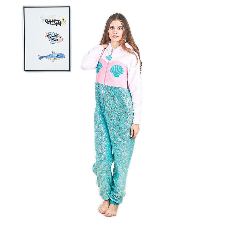 Pyjamas Women Inverno 2018 Pijama Feminino Mujer Winter Pajamas for Women Lady Adults Onesie Mermaid Pijamas Enteros De Animales