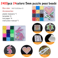 DOLLRYGA 2400pcs/set 24Color Hama Beads 5mm DIY Pegboard Tool Tweezer Puzzle Peas Beads Board Colors Puzzles Toys for Children