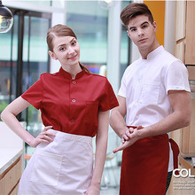 (5 get 10% off, 10 get apron)Classy man/woman chef wear chef uniform chef clothes short sleeve restaurant hotel kitchen coverall