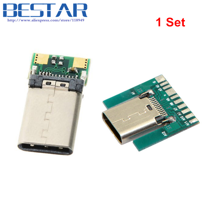 24Pin USB 3.1 Type C Male Plug Socket Connector Adapter SMT PCB Board