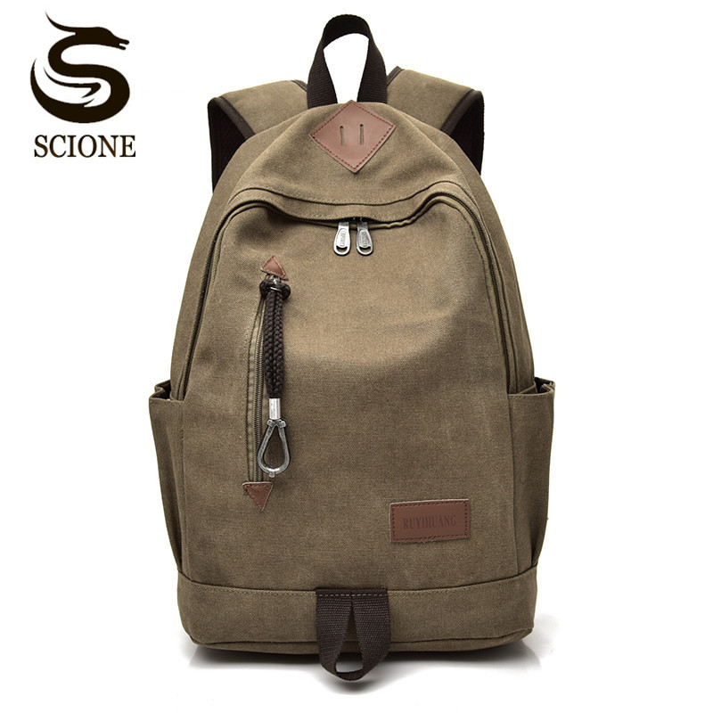 Scione Stylish Men Canvas Backpack Women Vintage Travel Rucksack Teenager School Bags Black/Brown Large Laptop Backpacks Bookbag