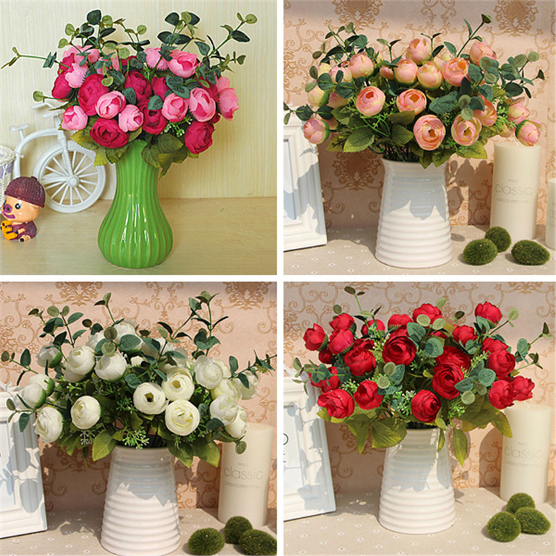 10 Heads Floral Bouquet Artificial Silk Champagne Flower Table Spring Rose Hydrangea Wedding Decor Party