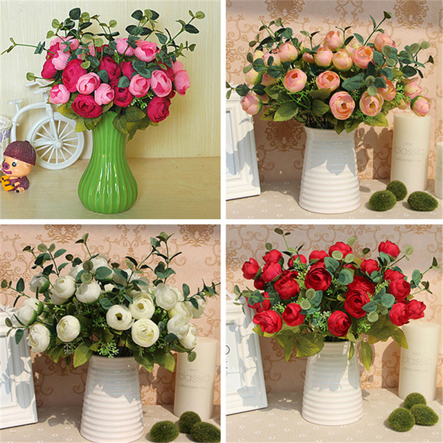 Buy 10 heads floral bouquet artificial silk champagne flower - Bouquet fleur artificielle ...