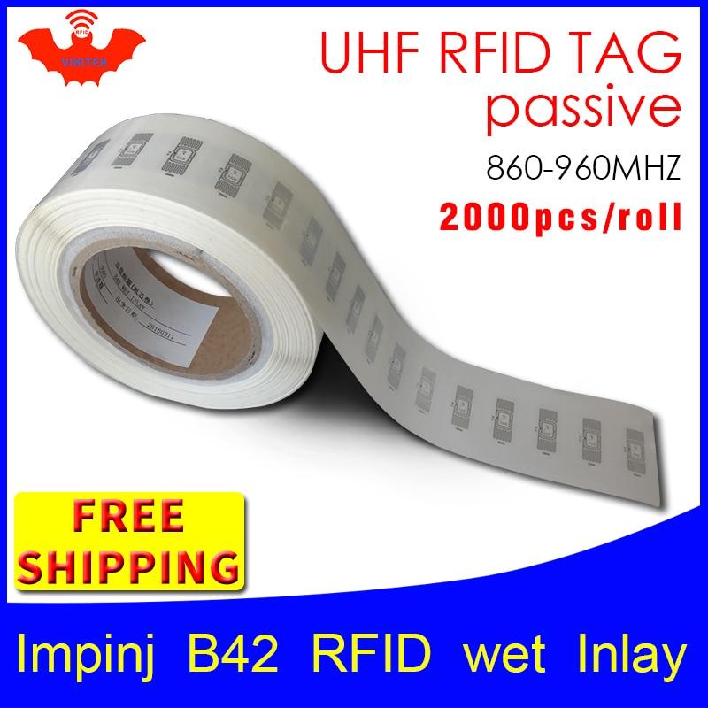 RFID tag UHF sticker Impinj B42 EPC6C wet inlay 915mhz868mhz860 960MHZ Higgs3 2000pcs free shipping adhesive passive RFID label