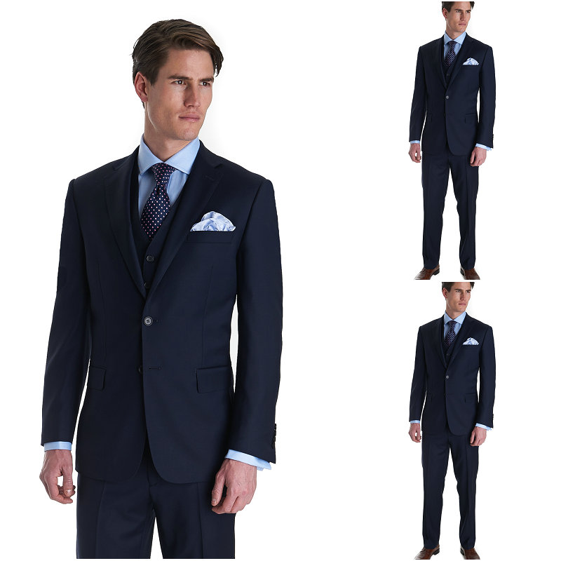 Brand New Groom Tuxedo men suit dark blue Groomsmen Notch Lapel ...