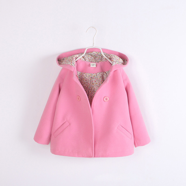 Europe and the United States girls spring and autumn long hooded thick woolen coat.