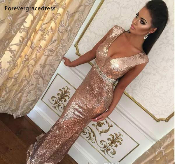Mermaid Evening Dresses 2019 Rose Gold Deep V Neck Formal Women Holiday Wear Celebrity Party Gowns Plus Size Custom Made