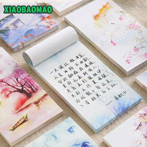 60 पृष्ठ चीनी परिदृश्य चित्रकला शैली स्टिकी नोट्स और मेमो पैड पेपर, डेस्कटॉप मेमो पैड नोट्स एन टाइम्स स्टिकर
