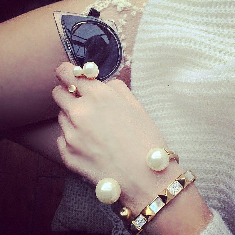 Luxe ouverture taille coquille perle femmes Bracelets Bracelets mode chaude couleur or trois pièces ensemble Bracelets marque bracelet - 6