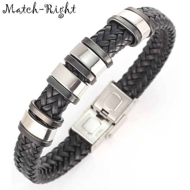 Match-Right Men's Leather Bracelets Metal Bracelet Cuff for Men Stainless Steel Bracelets Bangles Men's Wristband BR007