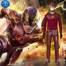 New arrival 2015 movie The Flash Costume Suit Adult Mens Halloween Superhero Cosplay Plus size whole set