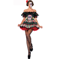 New Adult Skeleton Day Of The Dead Costume Women S Sexy Sugar Skull Dia Flower Fairy