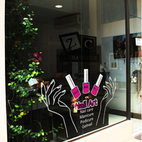 Nail Salon de Arte Tatuajes de Pared de Vinilo Chica Sexy Da Nail Polish Nail Shop Glass Window Sticker Decoración Mural Etiqueta de La Pared