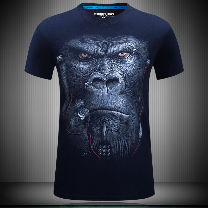 High quality new fashion Summer 2017 Fashion Printing Glasses Earphone gorilla Unisex Breathable Casual 3d T Shirt For Men Shirt