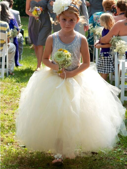 New White Tulle Flower Girls Dress 2017 Custom for Girls First Communion Gown White or Ivory Size 2 4 6 8 10 11 2017 new girls page 8