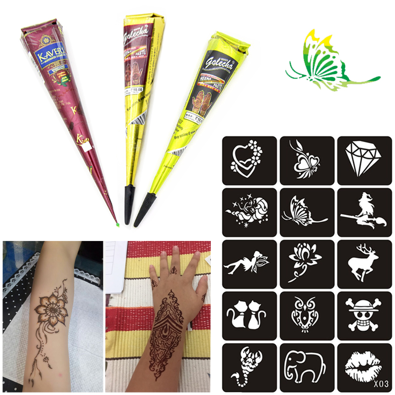 Indian Henna Tattoos Full Body: Black Brown Henna Tattoo Paste Cones Indian Mehndi Henna