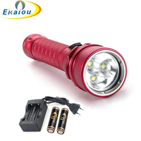 8000 Lumens 3 x XM L2 Scuba Diving 18650 Light Torch Powerful LED Waterproof Flashlight Lamp for Hunting Camping