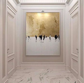 Hand-painted High Quality Abstract Wall Art Oil Painting on Canvas Abstract gold and White Oil Painting for Living Room