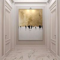 Hand painted High Quality Abstract Wall Art Oil Painting on Canvas Abstract gold and White Oil Painting for Living Room