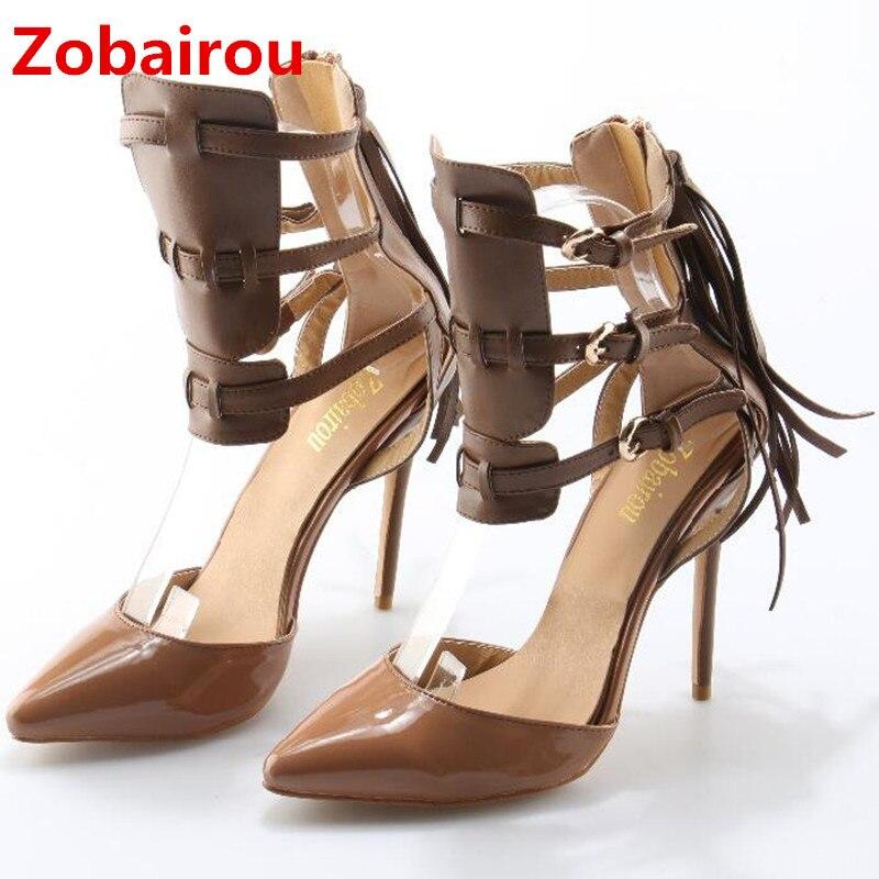 Zobairou plus size patent leather elegant wedding shoes woman Tassel high heels stiletto pumps ankle strap sandalias summer