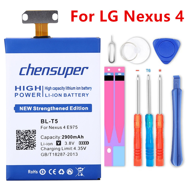 chensuper 2900mAh BL-T5 <font><b>Battery</b></font> For <font><b>LG</b></font> Nexus <font><b>4</b></font> <font><b>Battery</b></font> E975 E973 E960 F180 LS970 Optimus G E970 image