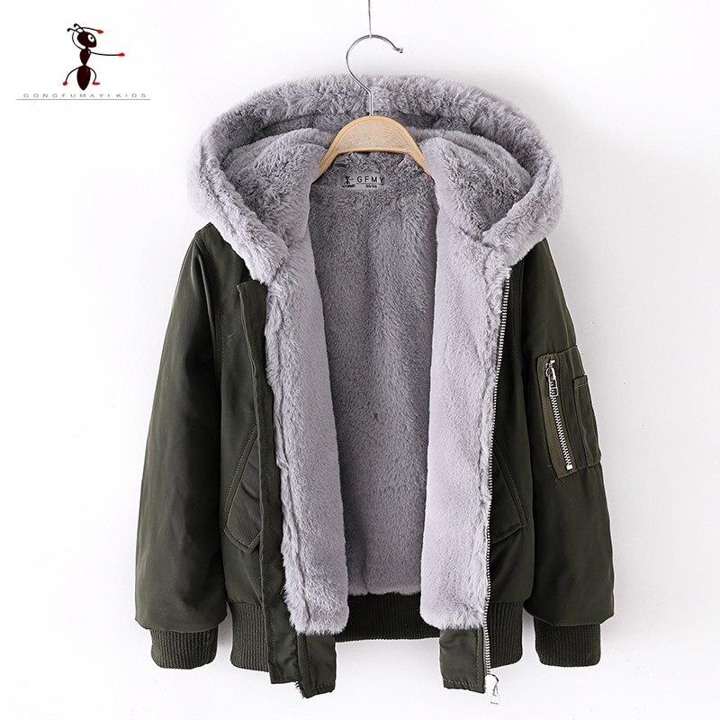 2018 Kung Fu Ant Winter Children Hooded Full Sleeve Fur ArmyGreen Plush children s winter jackets