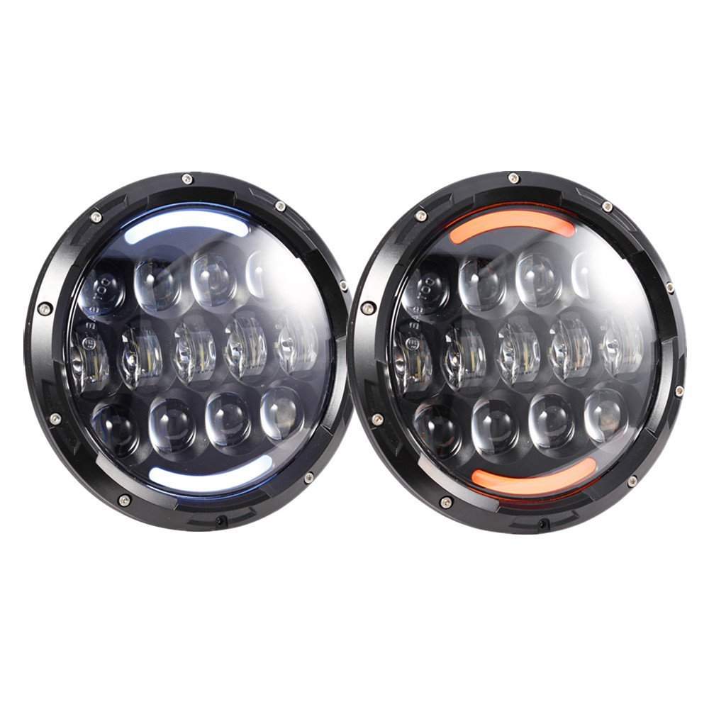 ФОТО 1pair 7 Inch Round H4 H13 LED Headlights White Halo Ring Angel Eyes+Amber Turning Signal Lights For Jeep Wrangler JK TJ CJ