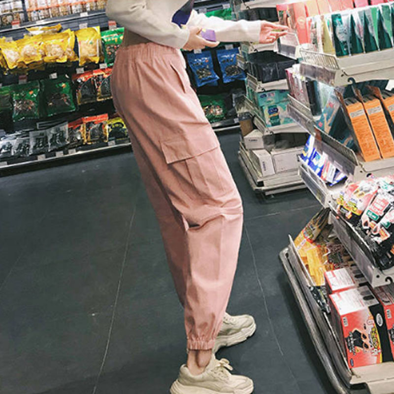 Cotton High Waist Cargo Pants 2019 Spring Pink Khaki Black Female Trousers 68