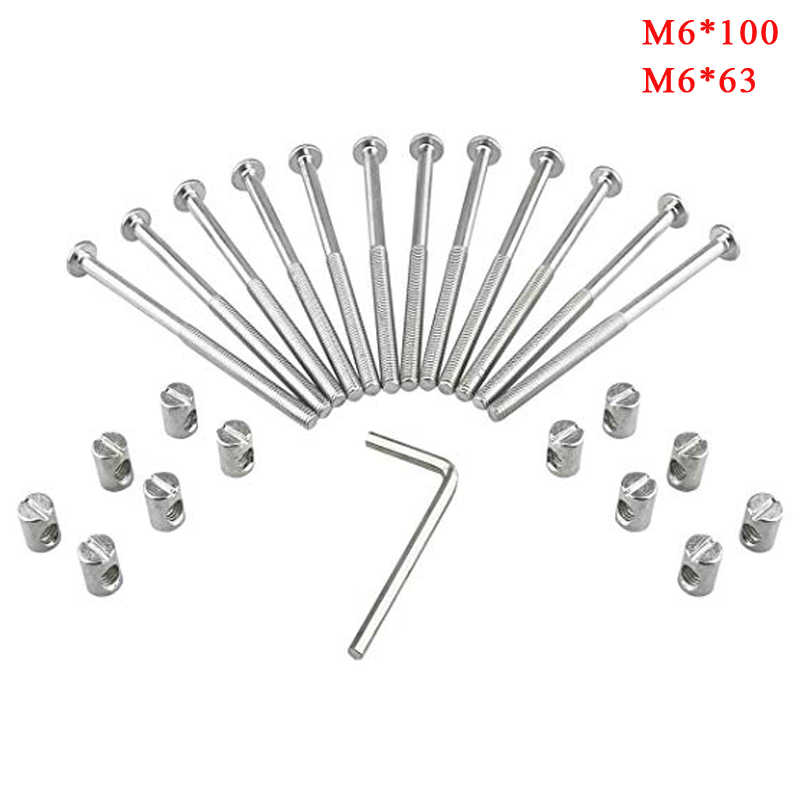 Crib Screws and Bolts Crib Parts Replacements for Baby Bed Cot Bunk Furniture M6 Barrel Nuts Crib Bolts 70mm Set of 10