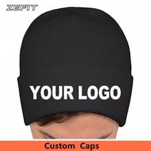 b71e116de2b Low MOQ custom beanie cap Embroidery Logo Adult Knitted hat Warm Headwear  High Quality Woven Label