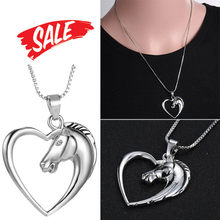 New Style New Fashion Jewelry Plated White Horse In Necklace Heart For Women Gifts Ornaments Jewelries Accessory Necklaces(China)