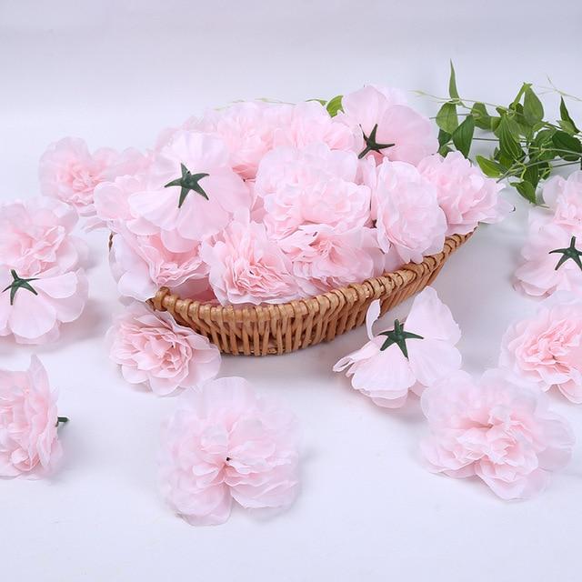 100 Pcs Simulation Dahlia Rose Single Flower Head DIY Wreath Wedding Party Decoration Silk Rose Wall Arch Row Fake Flowers