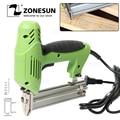 ZONESUN 2 в 1 обрамление Метчик электрические гвозди штапельного пистолета 220 В электроинструменты степлер пистолет 45 игл/мин для деревообработ...