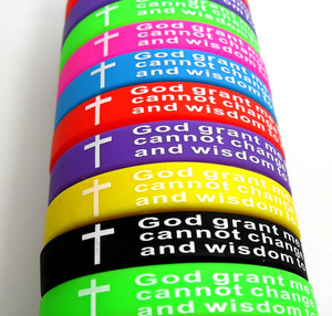 Image 3 - 50PCS Mix lot GOD SERENITY PRAYER silicone Bracelets Men Women Cross Wristbands Wholesale Jesus Jewelry