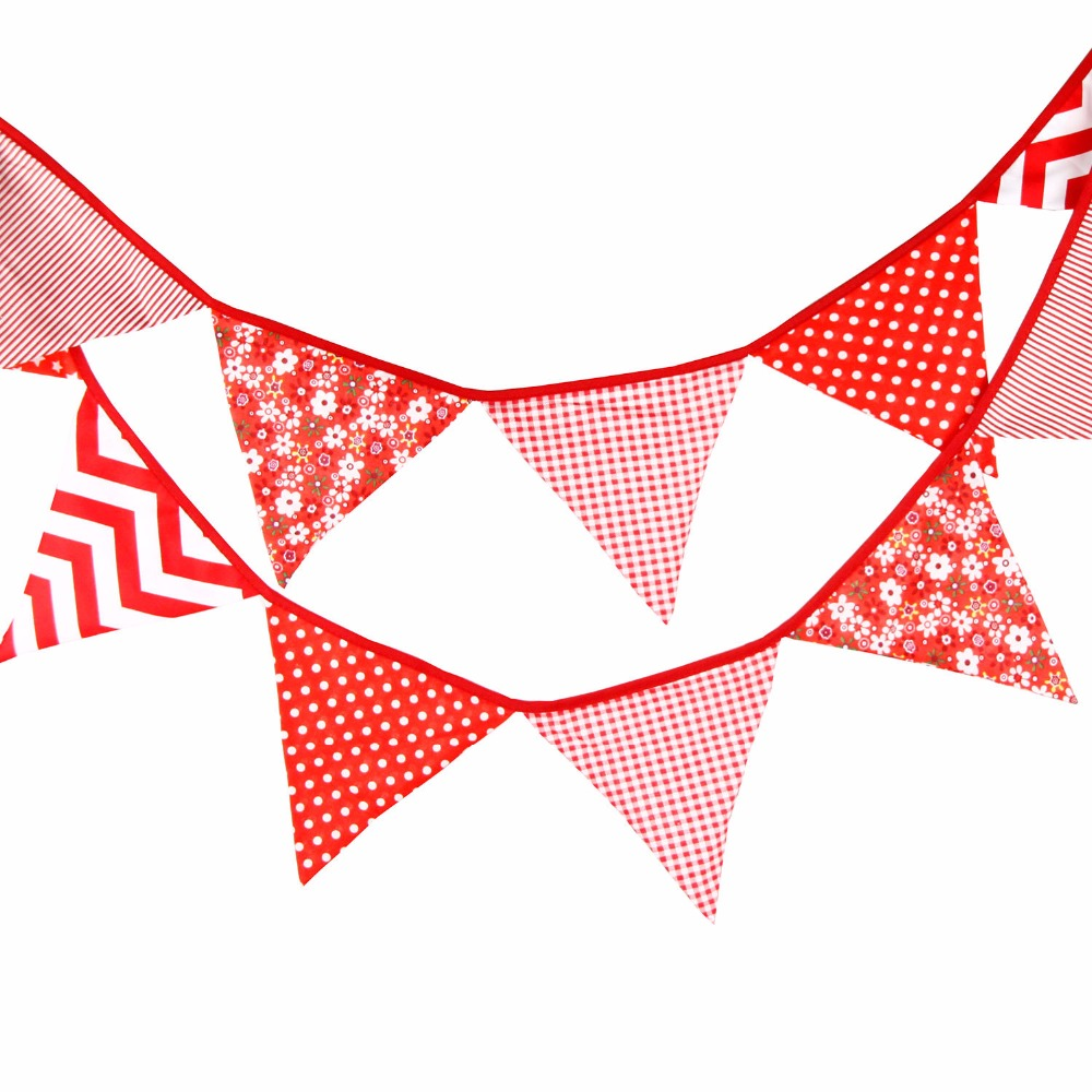 12 Flags 3.2M Cotton Fabric Banners Personality Wedding Bunting ...