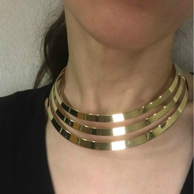 Collier Femme 2018 New Punk Exaggerated Gold Color Silver Color Metal Choker Nec