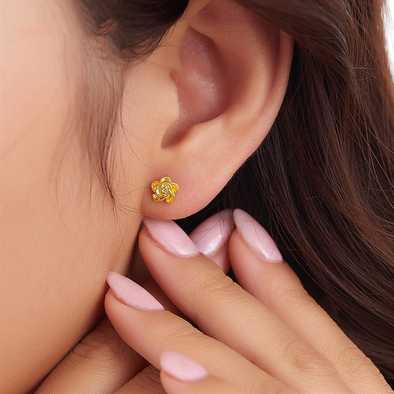 2017 New Pure 999 24k Yellow Gold Earrings Women Flower Stud 2 3 6g In From Jewelry Accessories On Aliexpress Alibaba Group
