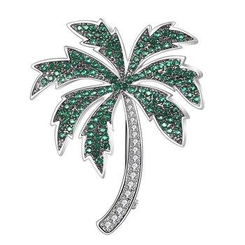 Joyería Vintage hermosa palmera Tropical con cocos Broche de Pin de vacaciones broches de diamantes de imitación de alta calidad para mujeres Broche