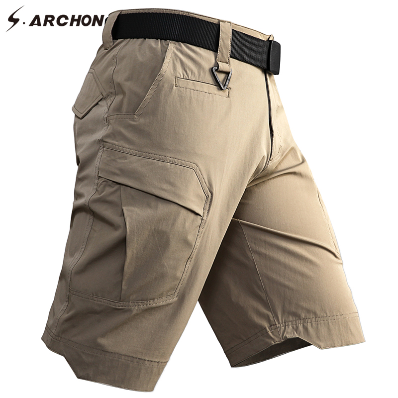 S.ARCHON Summer Cargo Shorts Men SWAT Army Combat Military Tactical Shorts Thin Multi Pockets Waterproof Work Casual Shorts Male
