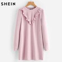 SHEIN Autumn Dress Frill Trim Sweatshirt Dress Fall Dresses 2017 Pink Long Sleeve Round Neck Casual