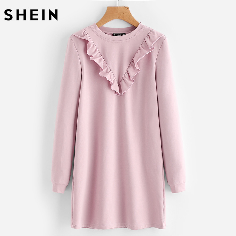 SHEIN Autumn Dress Frill Trim Sweatshirt Dress Fall Dresses 2017 Pink Long Sleeve Round Neck Casual