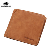 BISON DENIM Vintage Mini Purse Men's Genuine Leather Wallet Business Card Holder Clutch Male Document Purse W4361 3VS