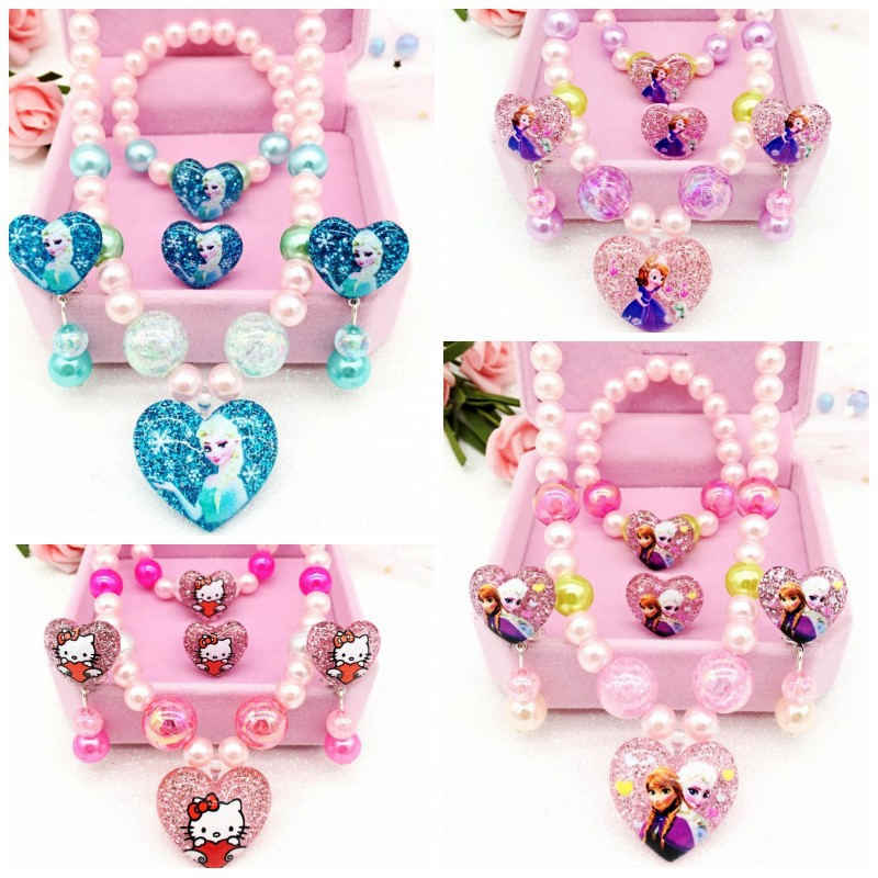 Disney 4pcs/lot Frozen Children Girls Princess Necklace toys  Bracelet Earrings Rings Accessories Paper Cards Birthday Gifts