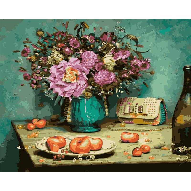 Frameless Canvas Art Oil Painting Flower Painting Design: Qluo Diy Home Decor Frameless Painting On Canvas Flower