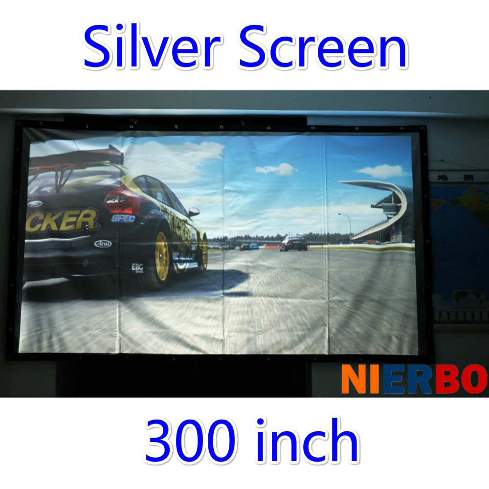 300 inches16:9/4:3 Silver Projector Screen Fabric metal Folding Pantalla Proyector Big Projection Curtain for LED LCD HD Movie hd projector projection screen 300inch 16 9 format outdoor fast folding frame screens for camping music party